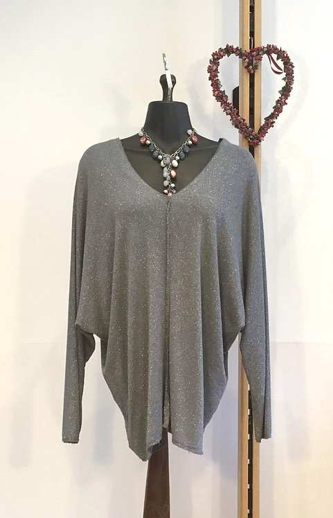 Loose Fit Sparkle Top Grey