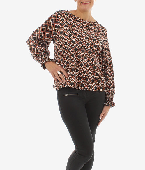 Diamond Print Blouse Rust