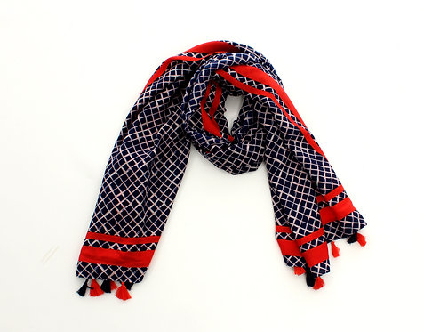 Diamond Scarf Navy and Red