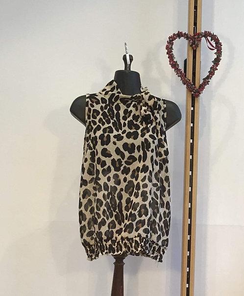 High Neck Leopard Print Silk Blouse