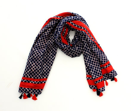 Diamond Scarf Black and Red