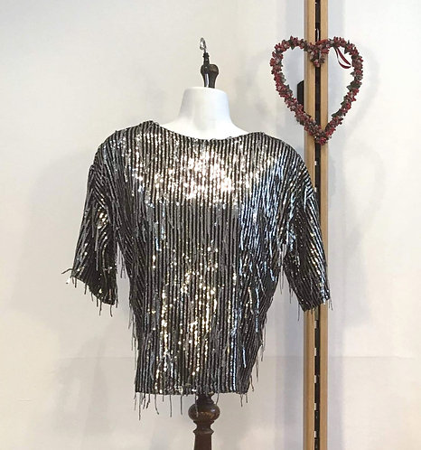 Sequin Tassel Top Silver