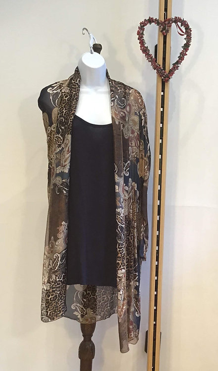 Long Line Top with Silk Over Coat Navy