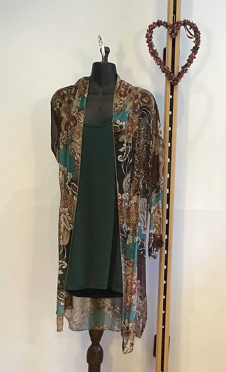 Long Line Top with Silk Over Coat Green