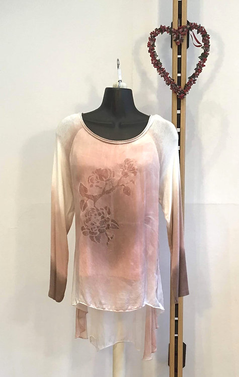 Pink Silk Layered Top
