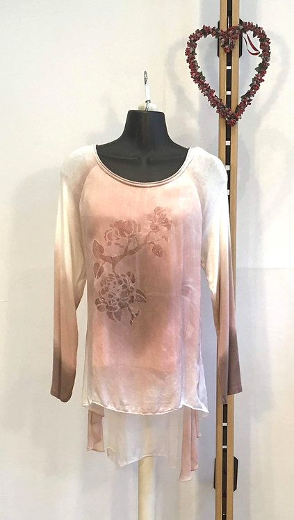 Pink Silk Layered Top