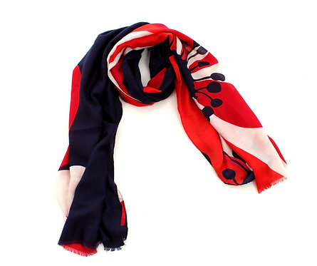 Floral Scarf Navy, Red and White