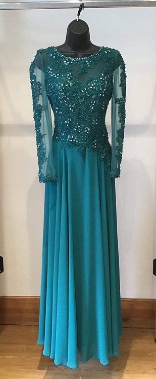 Teal Long Sleeved Yve Dress