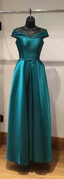 Taffeta Boned Lace Up Back Dress Green