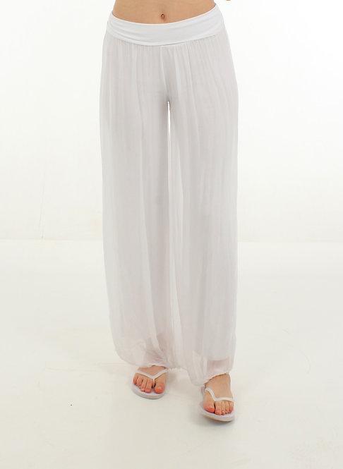Silk Trousers White