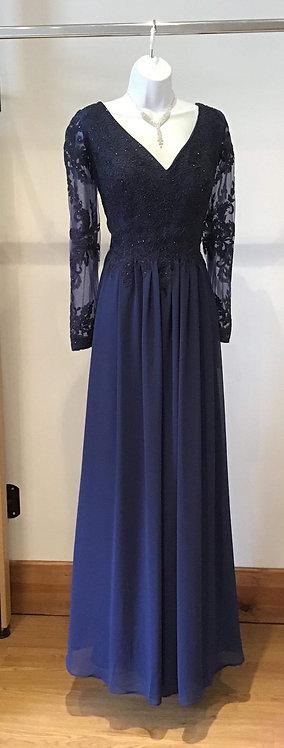Long Sleeve Chiffon Dress Navy