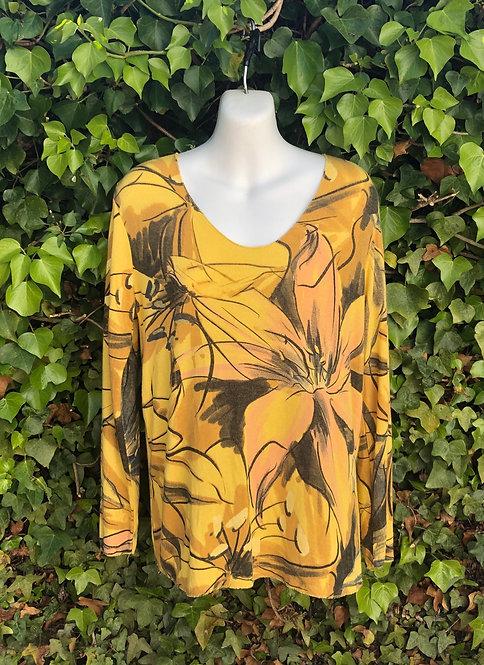 Mustard Flower Print Top