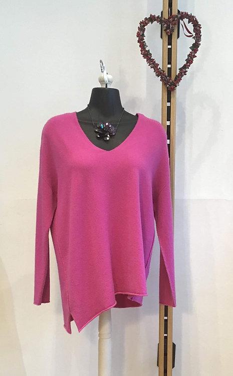 Diagonal Hem Knit Pink