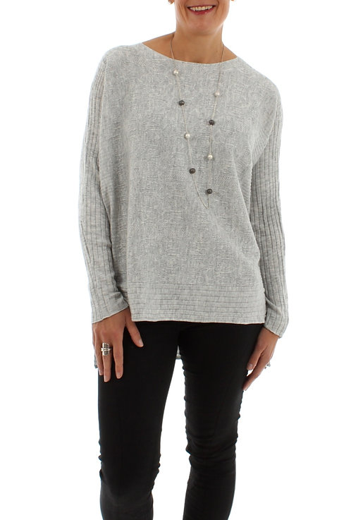 Fine Knit Jumper With Snood Grey