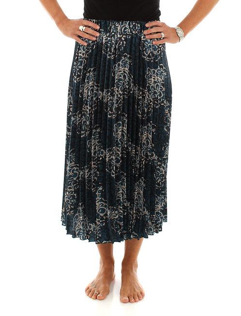 Floral Pleated Skirt Deep Sea