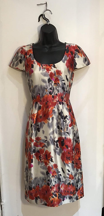 Capped Sleeve Orange Grey and Red Dress