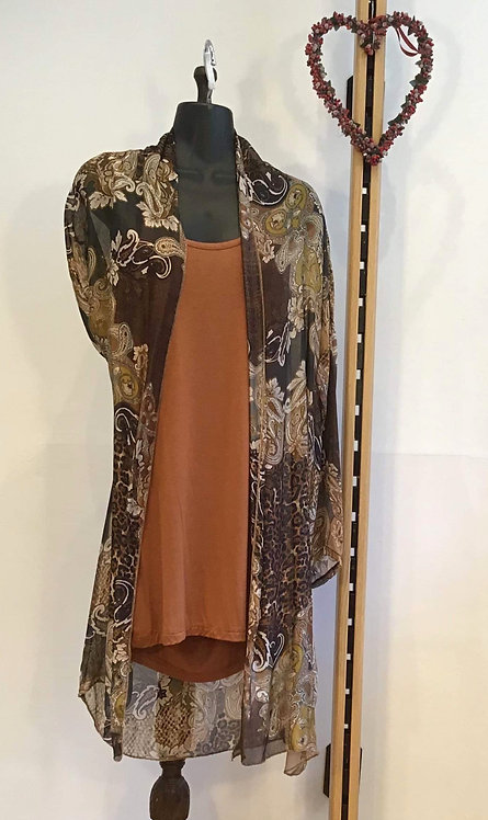 Long Line Top with Silk Over Coat Ginger