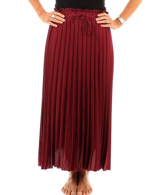Pleated Skirt Deep Red