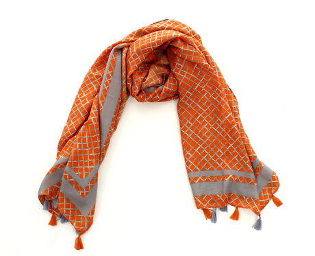Diamond Scarf Orange and Grey
