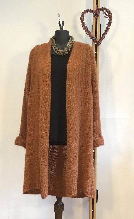 Long Woollen Cardigan Ginger