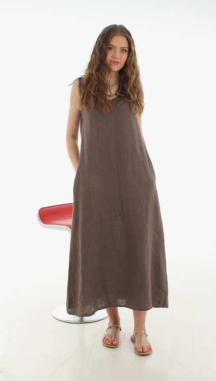 Long V Dress Taupe