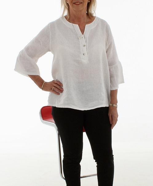 Bell Sleeve Linen Top White