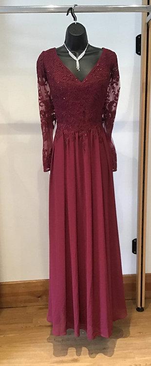 Long Sleeve Chiffon Dress Red