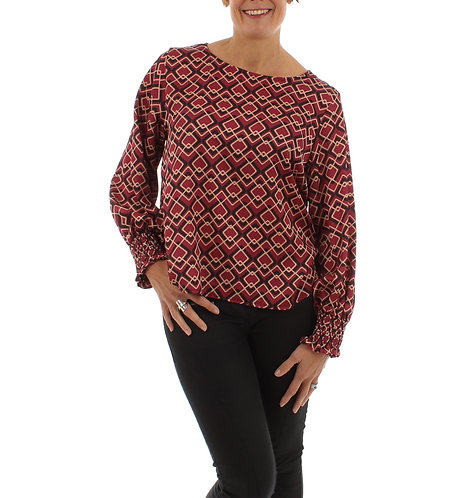 Diamond Print Blouse Red