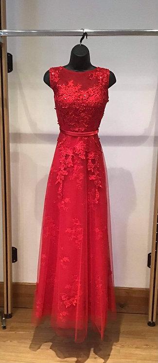 Red Slash Neck with V Back Dress