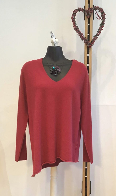 Diagonal Hem Knit Red