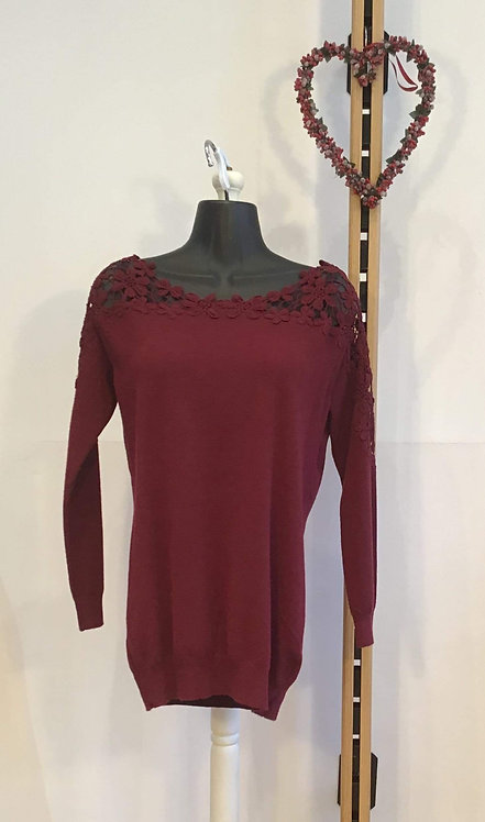 Flower Lace Top Wine