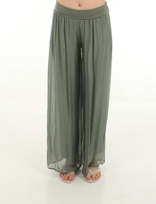 Silk Trousers Green