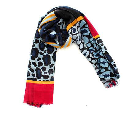 Animal Print Scarf Blue, Red and Yellow