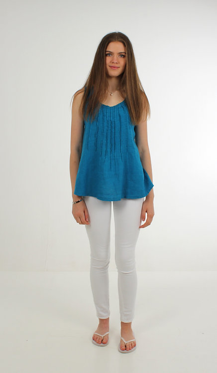 Pleated Linen Top Blue