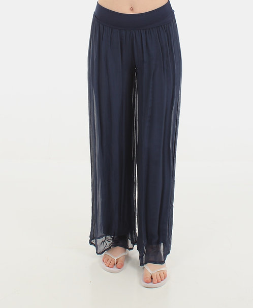 Silk Trousers Navy