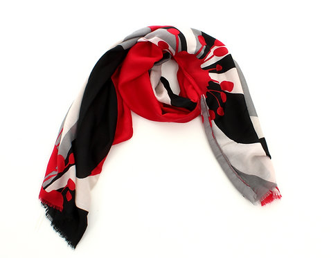 Floral Scarf Navy, Grey and Red
