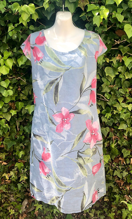 Blue and Pink Flower Dress