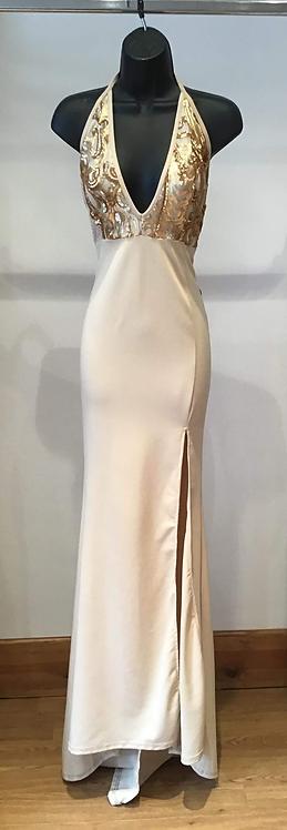 Gold Jersey Halter Neck Dress