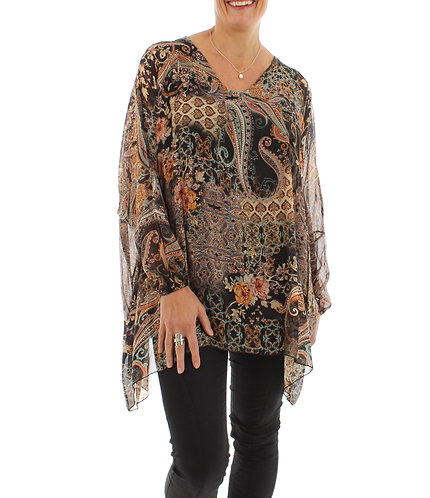 Long Sleeved Silk Top Black