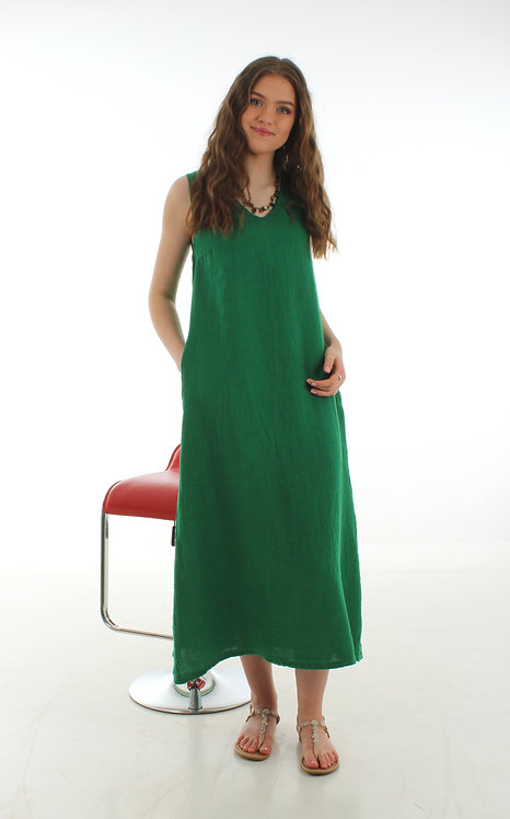 Long V Dress Green