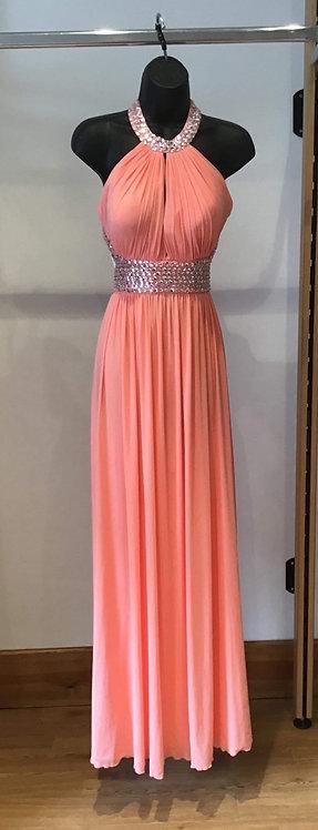 Peach Jersey Backless Dress