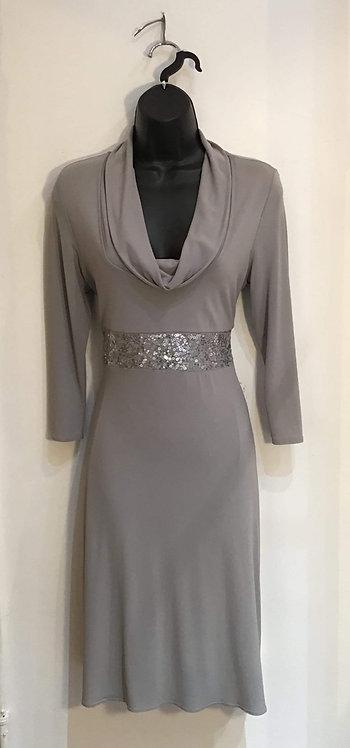 Silver Beaded Waist Dress