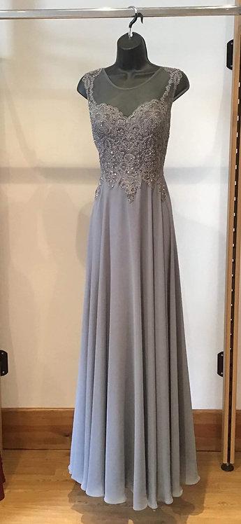 Chiffon Lace Bodice Dress Grey