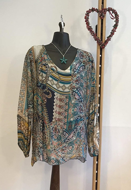 Silk Blouse Turquoise
