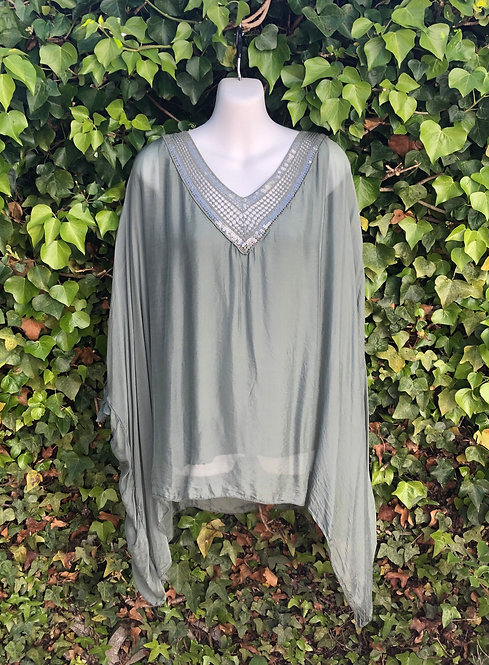 Three Quarter Length Sleeve Silk Top Khaki
