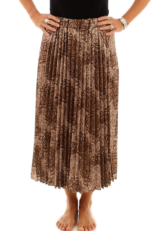 Light Brown Floral Pleated Skirt