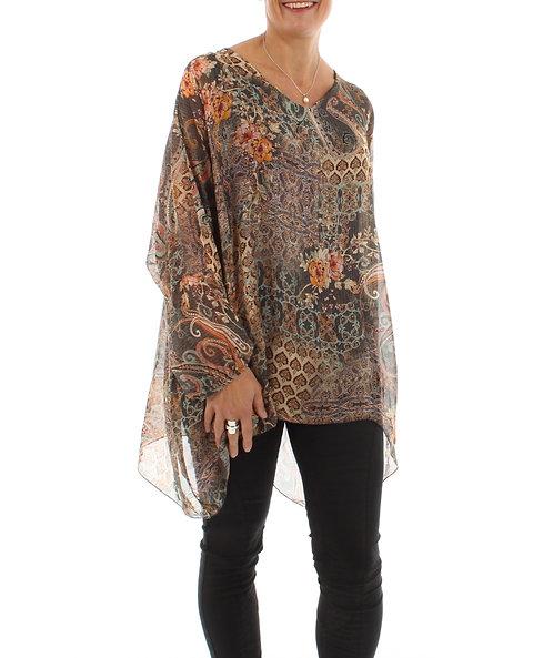 Long Sleeved Silk Top Brown