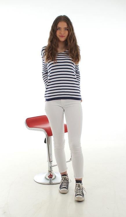 Stripe Jumper White and Navy