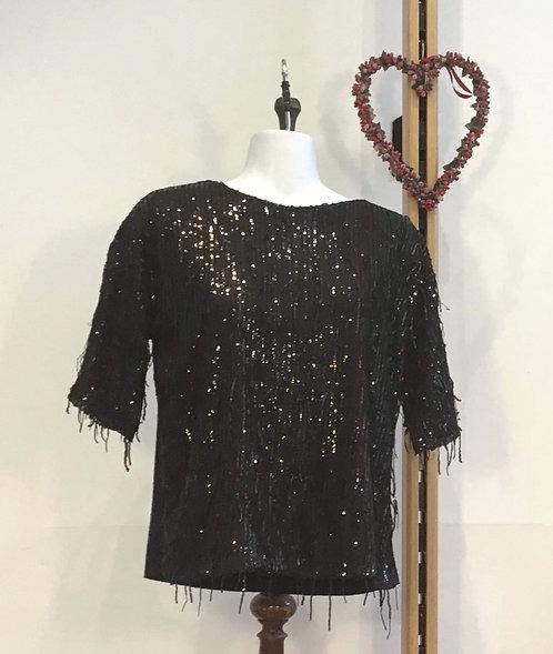 Sequin Tassel Top Black
