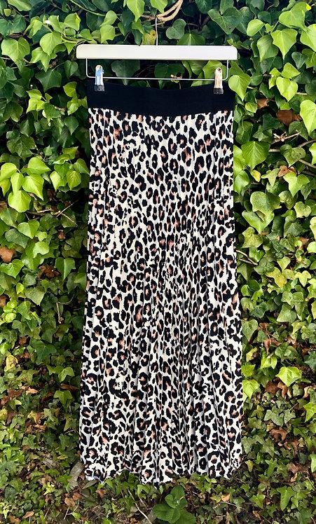 Leopard Print Pleated Skirt Cream
